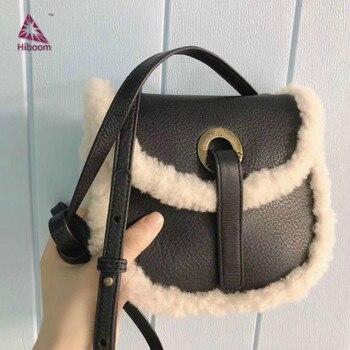 Hiboom 2020 New Winter Wool Bag Single Shoulder Crossbody Small Round Bag Cow Leather Lamb Wool Messenger Plush Bag For Girls