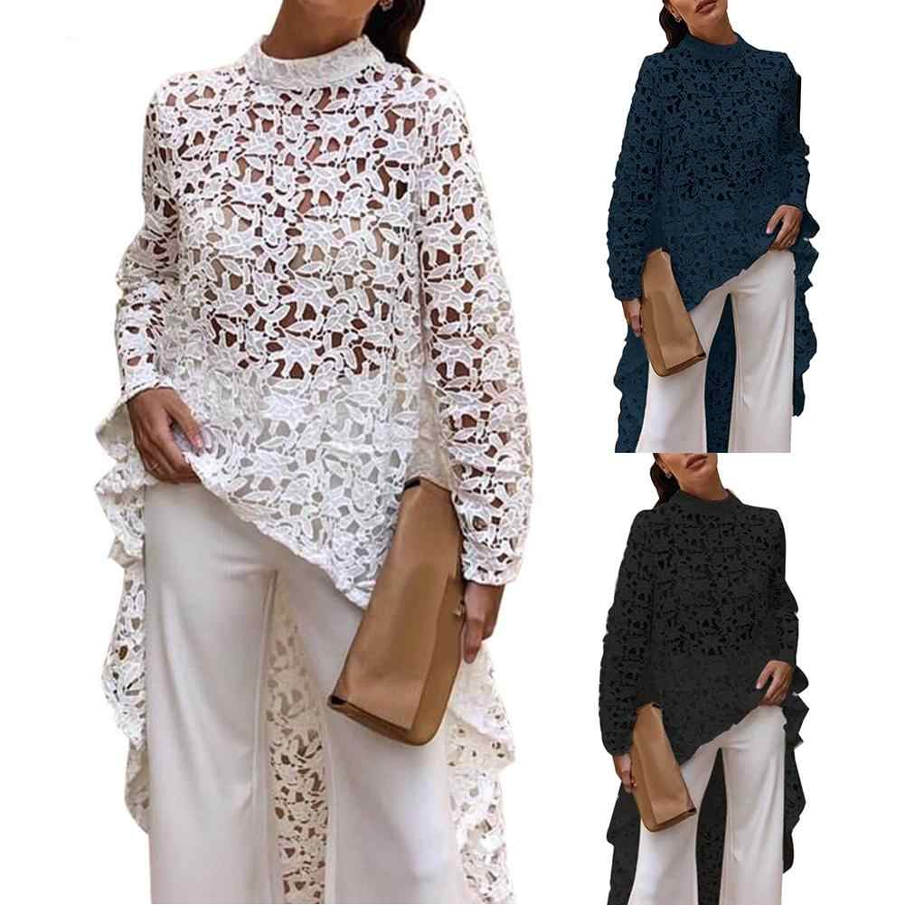 Mode Lente Herfst Mode Vrouwen Effen Kleur Hollow Out Lace Blouse Hoge Lage Top Ronde Hals Hollow Out Hoge Lage zoom Blouse