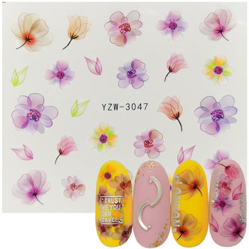 1 Sheet 3D Embossed Nail Sticker Flower Adhesive DIY Manicure Water Transfer Slider Nail Art Tips Decorations Decals 10pcs brand nail stickers linear flower pattern nail art decorations slider for nail manicure adhesive diy decals foil nail art