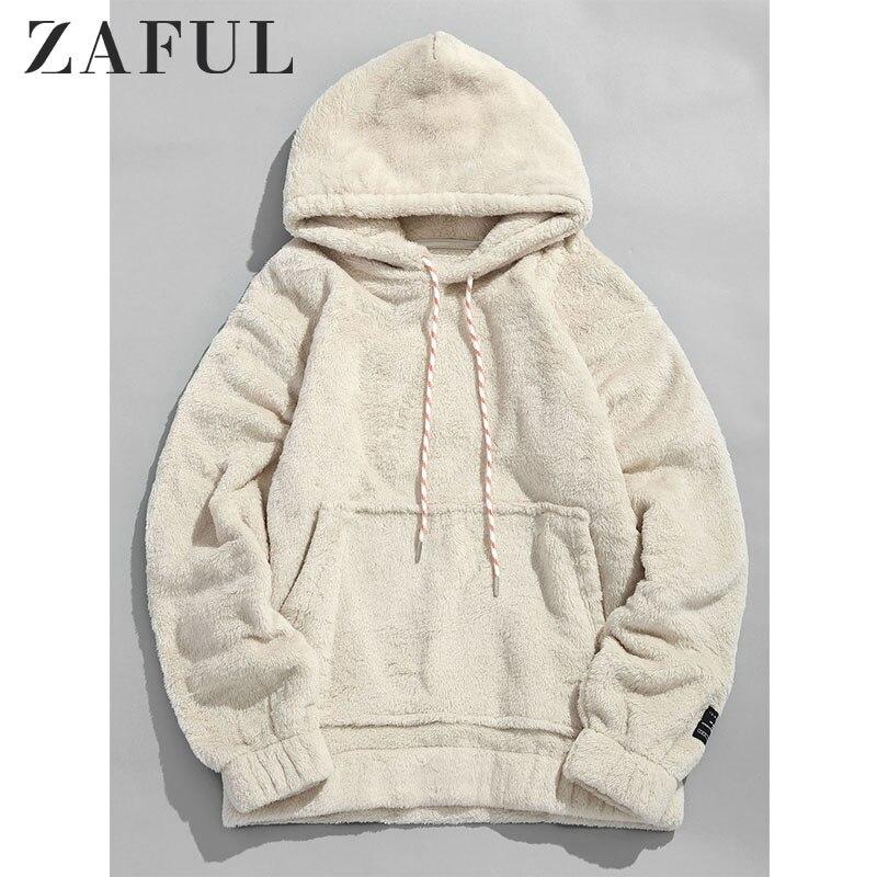 ZAFUL Winter Men Hoodies Solid Pouch Pocket Fluffy Men Pullover Pouch Pocket Streetwear Detail Hoodie Male Hooded Sweatshirt Top