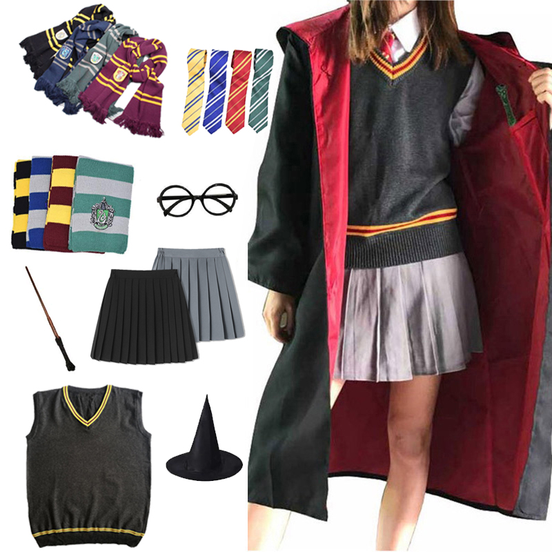 Gryffindor Slytherin Magic Cloak Potter Cosplay Costume Robe Cape Hermione Granger Cosplay Potter Ravenclaw Hufflepuff Costume