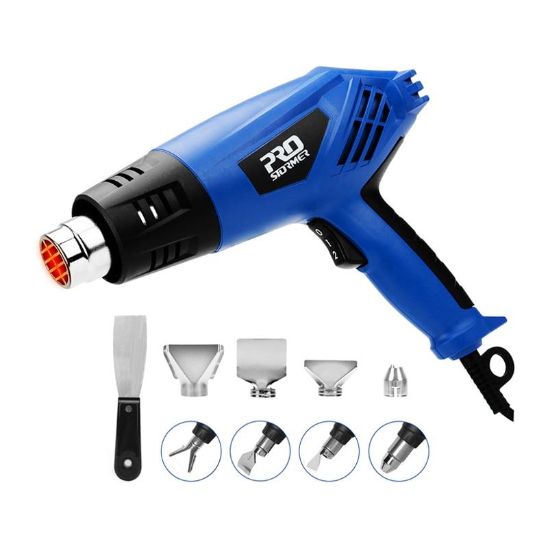 PROSTOEMER 2000W Electric Hot Air Gun 220V Industrial Dual Temperature-controlled Building Hair Dryer Temperature Heat Gun Nozzl