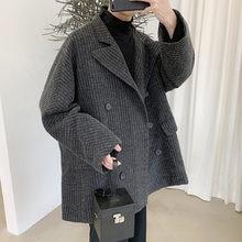 Мужская двубортная куртка с отложным воротником черная или серая