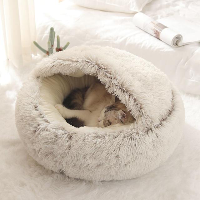 Pet Dog Cat Round Plush Bed Cat Self Warming Cat Nest House Soft Long Plush Bed Pet Comfort Sleeping Cushion Basket Soft Kennel 2