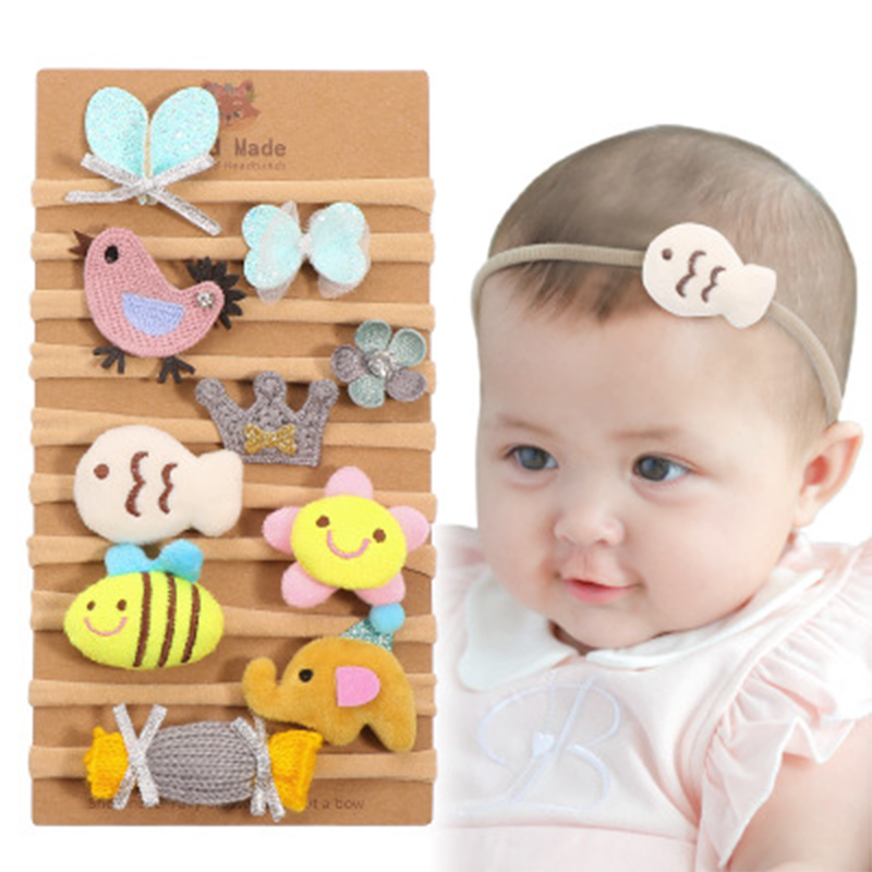 10Pcs set Cartoon Baby Headband Headwear Flower Nylon High Elastic Soft Baby Headbands For Girls Newborn Infant Hair Accessories