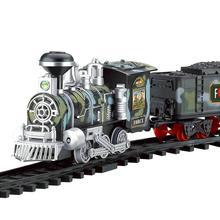 Классический Электрический динамический паровой Радиоуправляемый поезд, набор, имитационная модель, игрушка, Классическая детская железная дорога, игрушки для перевозки