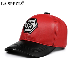 Image 2 - LA SPEZIA אמיתי עור בייסבול כובע גברים נשים כחול שחור טלאים באיכות גבוהה זכר נקבה חורף אבא כובע