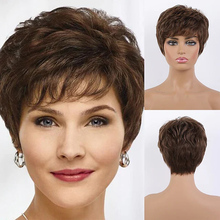 Human Hair Blend Wig women Wig Brown Short Hairstyles Wavy Capless costume wig for white women 8 inch