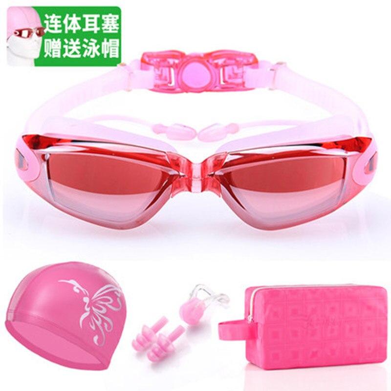 Goggles Women's Myopia High-definition One-piece Men's Big Box Adult Anti-fog Earplug Swimming Cap Swimming Bag Swimming Glasses