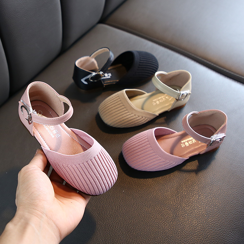 Knitted Fabric Closed Toe Princess Girls Shoes 2020 Fashion Mary Jane Shoes  For Girls Solid Casual Sandals Prom Shoes D01082