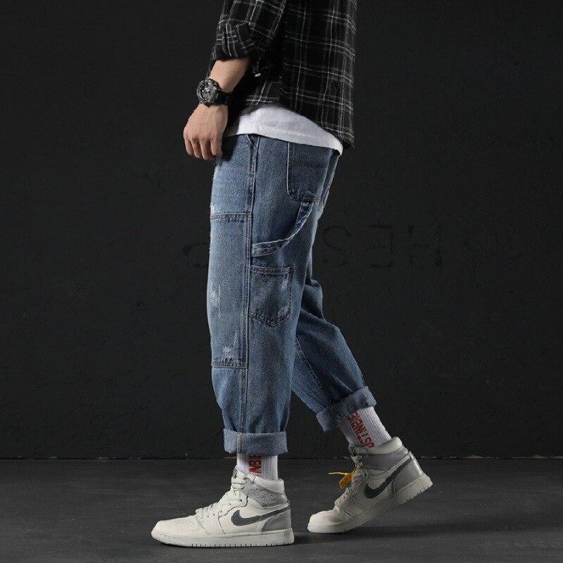 Summer Thin Section Pants Men's Korean-style Trend Straight-Cut Jeans Men Loose-Fit Loose Pants Popular Brand Casual Capri Pants