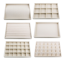Linen Jewelry Organizer Trays Stackable Necklace Ring Showcase Jewellery Display Ring Storage Tray Portable Jewelry Tray Stand