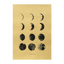 reading the mountains of home paper phase of the moon kraft paper poster room decoration painting wall sticker home picture paper painting