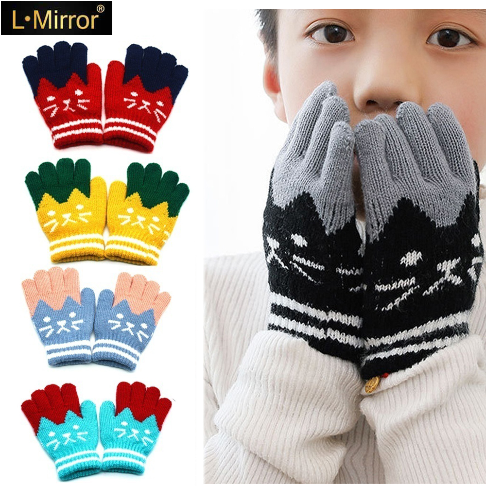L.Mirror 1Pair Cartoon Child Kids Winter Warm Knitted Gloves Magic Mittens Girls Boys Unisex Casual Toddler Gloves New