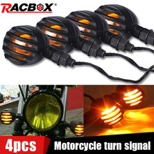 4PCS Retro Motorcycle Turn Signals Bullet Grilled Style Stop Signal Flashing Light Amber Signal Lamp for Honda Yamaha KTM