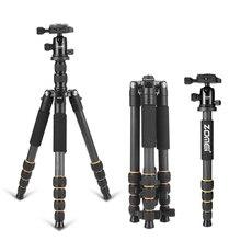 ZOMEI Q666C trípode de cámara portátil de fibra de carbono para viaje, monopié y cabezal de bola, placa de liberación rápida, soporte de teléfono para cámara Digital SLR