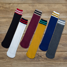 Japanese Woman socks Harajuku style cute girl calf high fun casual college striped long street fashion cotton