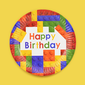 Image 5 - 8個レゴパーティー使い捨て食器プレートカップ子供の誕生日パーティーベビーシャワーの装飾用品