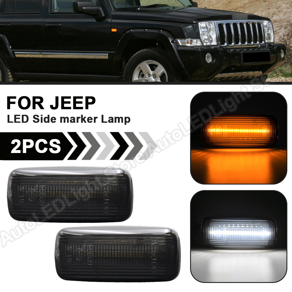 2 luces LED de posición para JEEP Patriot Compass, mando para gran Cherokee Chrysler Dodge Smoke, indicador lateral (ámbar), color blanco
