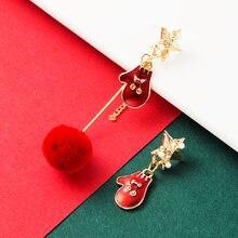 Милые рождественские перчатки серьги элегантные имитация жемчуга