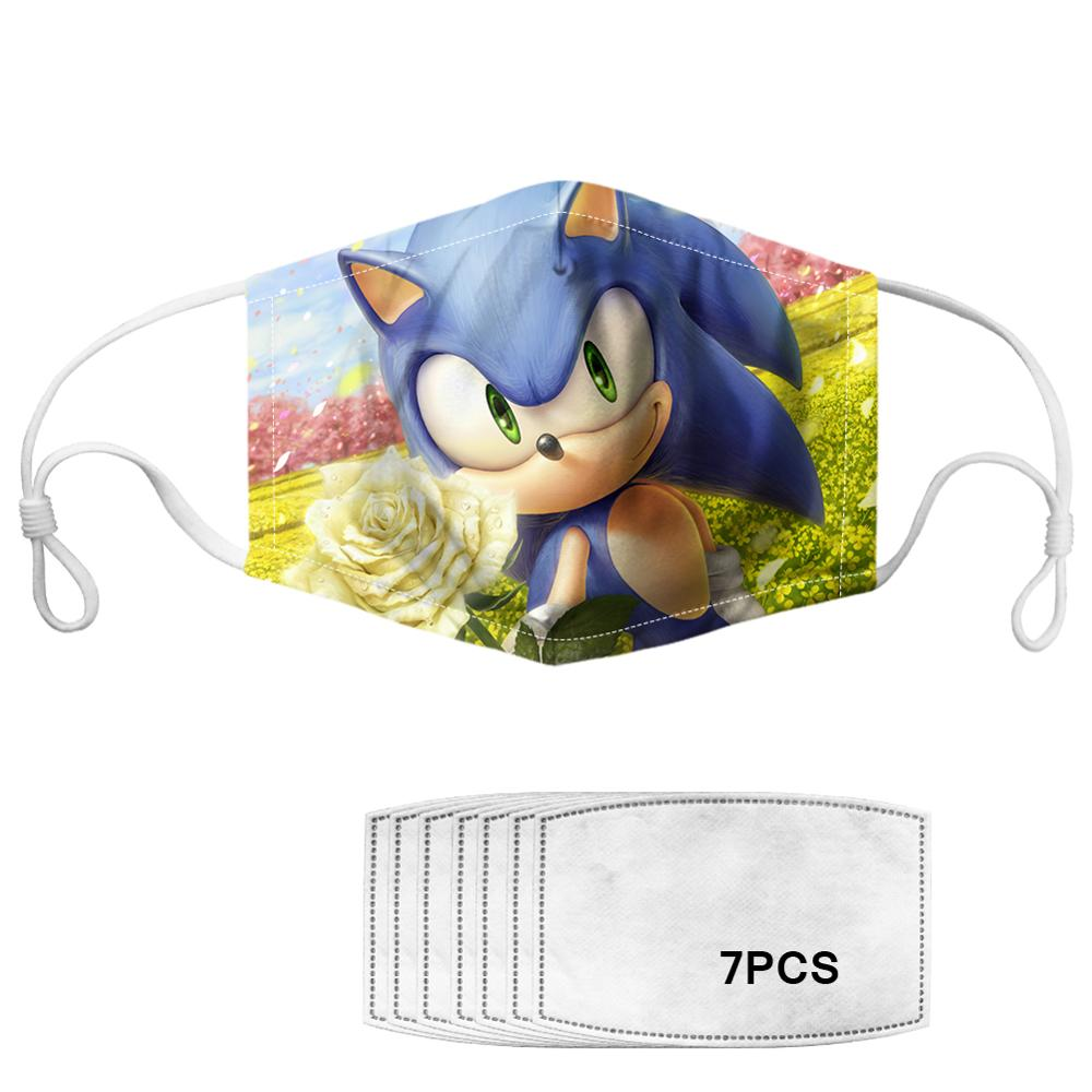 2020 Washable Children Mouth Face Mask Kids Cartoon Sonic Cotton Anti Dust Protection Reusable Masks For Girls Man Woman