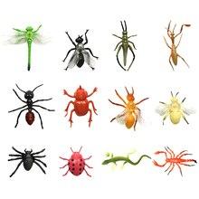 Бывает 2 типов: 12/24pcs Пластиковые Моделирование стрекозы и пчелы паук игрушки насекомых божья коровка пижамы Locust броши в виде ящерицы модели Фигурки развивающий набор