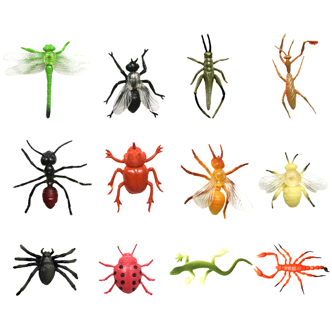 2 Types 12/24pcs Plastic Simulation Bee Dragonfly Spider Toys Insect Ladybird Locust Lizard Models Figurines Educational Set