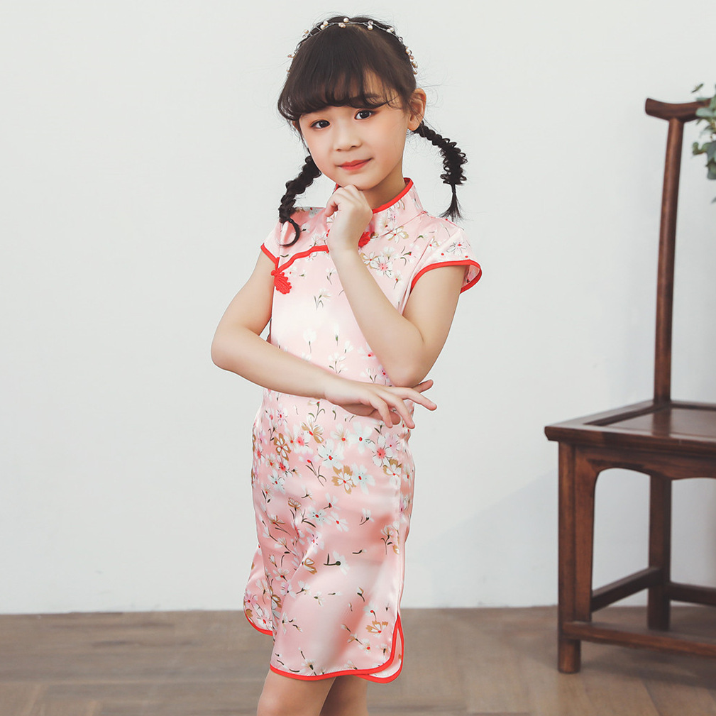 Baby GIRL'S Imitated Silk Fabric Printed Princess Dress Cute Small Floral Chinese-style Cheongsam Chinese Style Costume