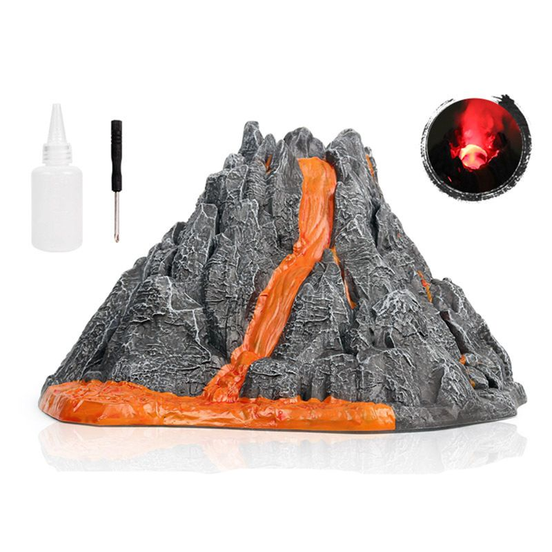 Simulation Volcano Model Spray Red Light Train Dinosaur Model Toy Accessories