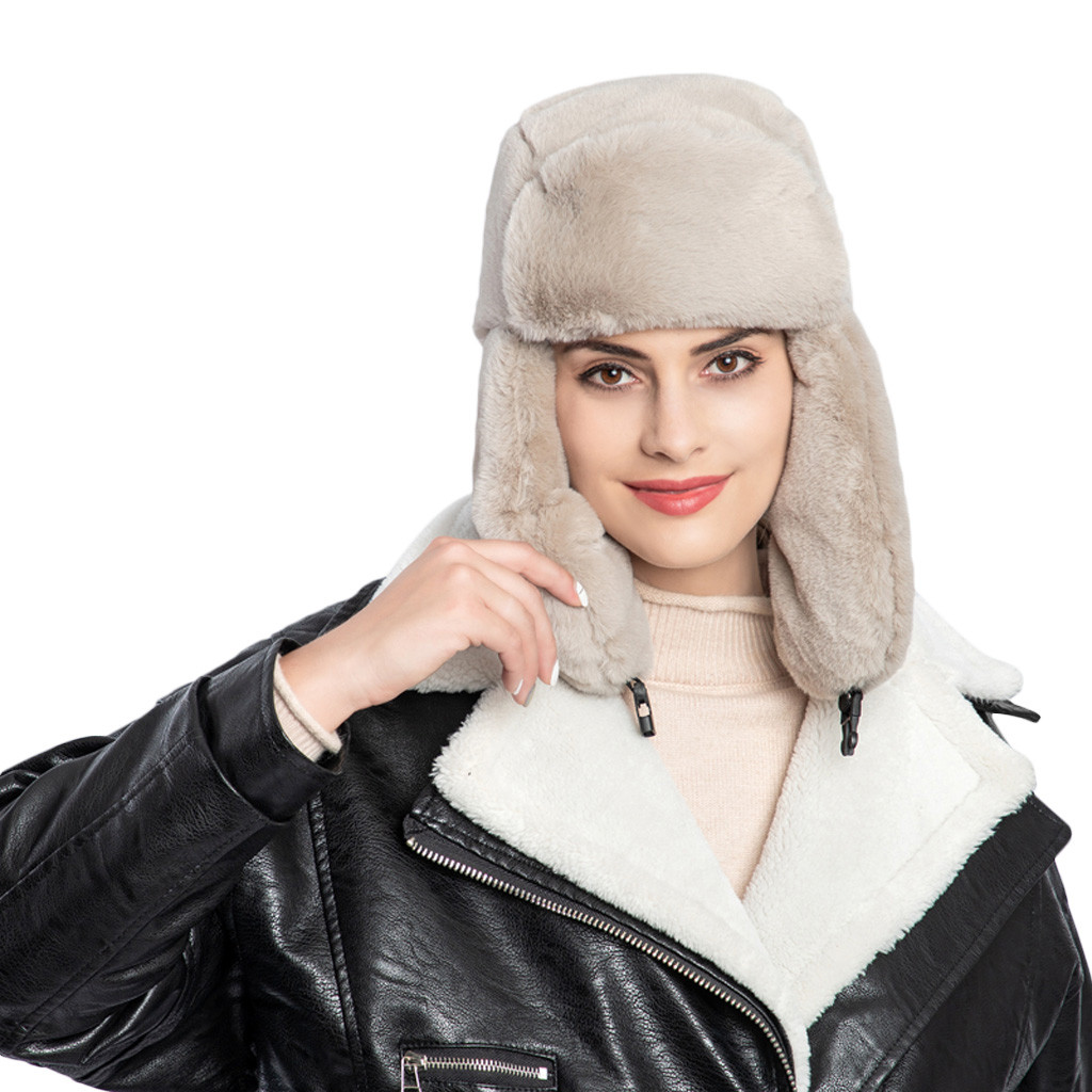 Winter Hat Ear-Protectors Plush-Hat Faux-Fur Warm Mujer Cap Sweet-Style-Sombrero Thick