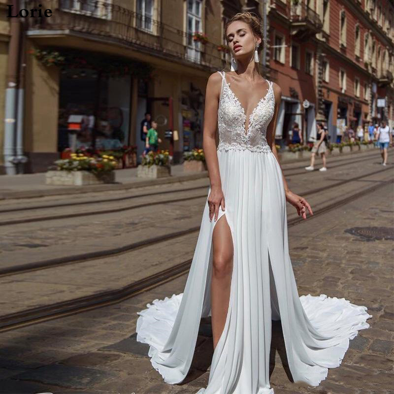 Lorie Beach Wedding Dress 2019 Spaghetti Strap A Line Side Split Chiffon Appliques Backless Lace Wedding Gowns Bridal Dress