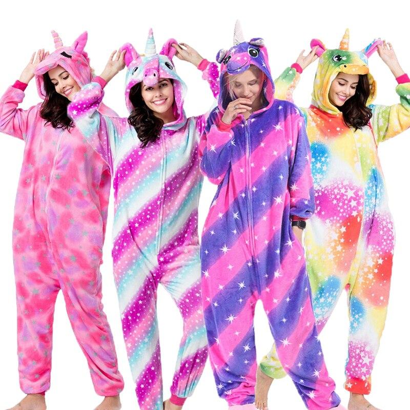 Kigurumi Unicornio Pajamas Set Winter Flannel Adults Onesie Animal Panda Pikachu Stitch Cartoon Pyjamas Women Men Sleepwear