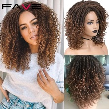 FAVE Dreadlock Curly Wig Synthetic Goddess Faux Locs Braids Crochet Twist Ombre Brown14inch For Women Hair Heat Resistant Fiber