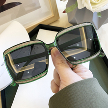 Polarized Green Square Sunglasses For Women Vintage Overszie