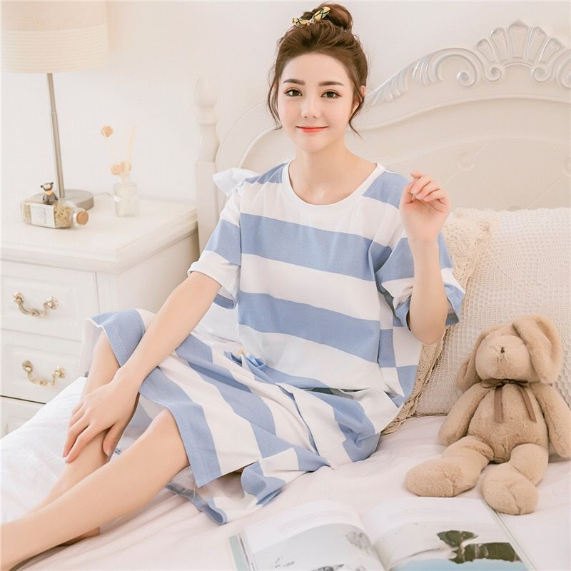 Ladies Long Nightdress Milk Silk Letter Dot Striped Print Loose  Nightdress Home O Collar Short-sleeved Nightwear