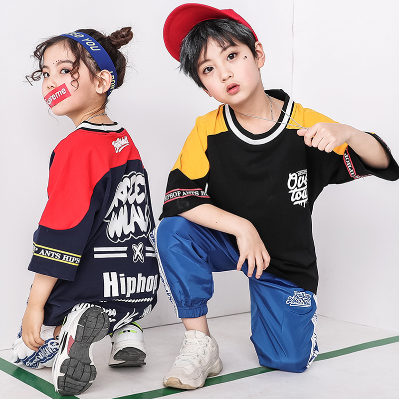 New Hip Hop Ballroom Dancing Costumes For Girls Boys Kids Child Party Show T Shirts Pants Jazz Dance Costumes Clothes Stage Wear