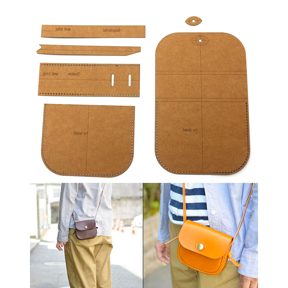 DIY Leather Craft Small Shoulder Bag Heavy Weight 500gsm Kraft Paper Cardboard Sewing Pattern 13x10x4cm