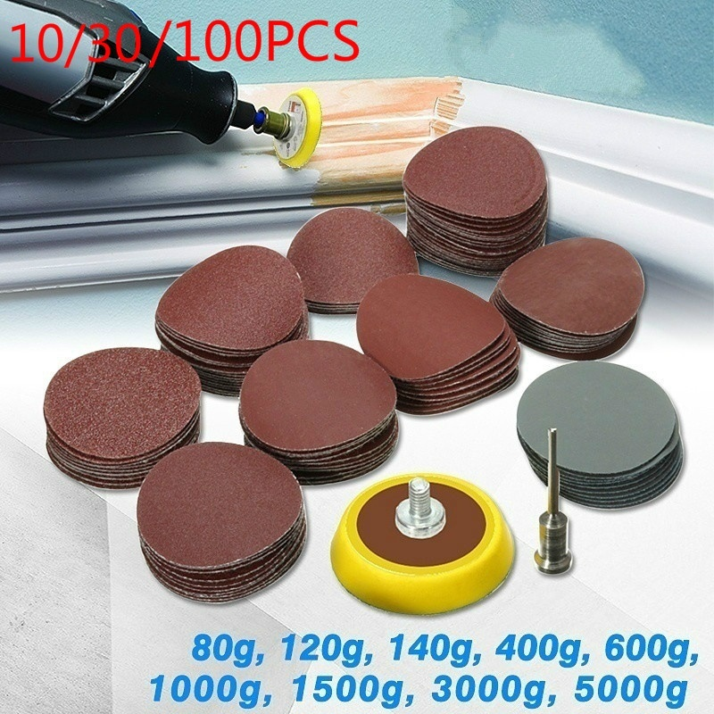 10pcs Sandpaper <font><b>75mm</b></font> 3Inch Sanding Sheet Sander <font><b>Discs</b></font> Polishing Pad Sandpaper Round Shape 80-1500 Grit Mixed Polishing /Clean image
