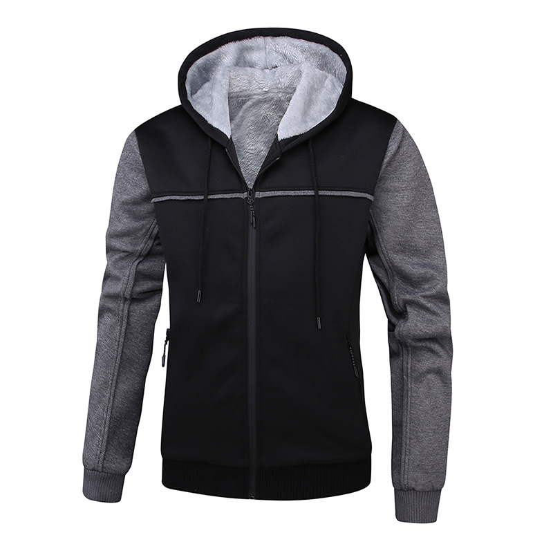 Men Brushed And Thick Double Stitching Color Hoodie Streetwear Women's Hooded Cardigan Coat Large Size Cotton