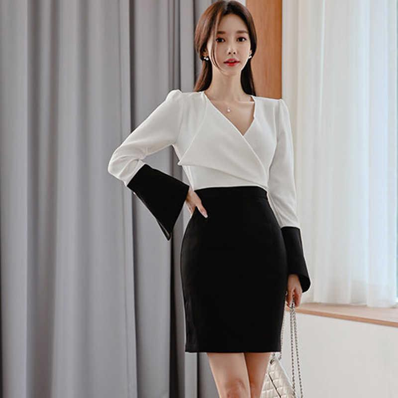 H Han Queen noir blanc contraste couleur robe moulante femmes 2019 nouveau Flare manches gaine robes OL affaires vêtements de travail Vestidos