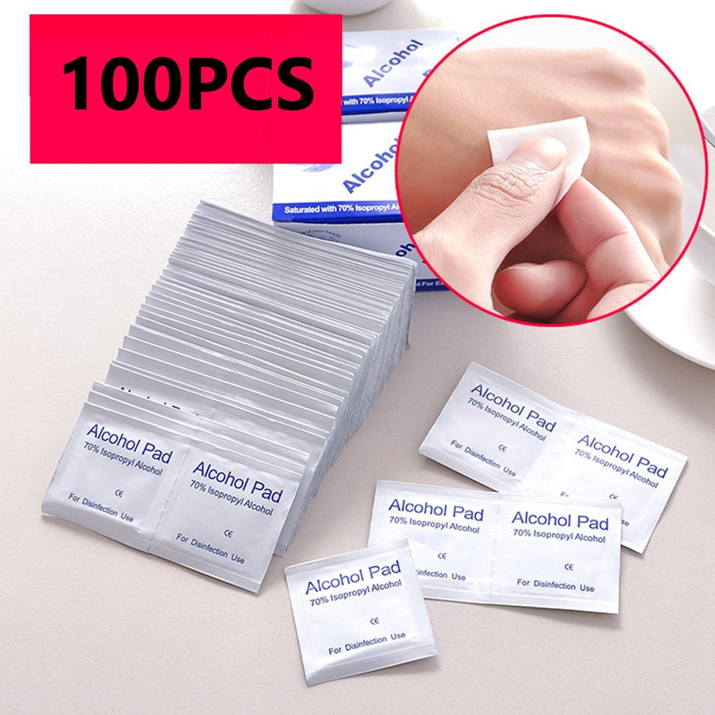 100 Pcs Alcohol Wet Wipe Disposable Disinfection Prep Swap Pad Antiseptic Skin Cleaning Care Mobile Phone Jewelry Clean Wipe