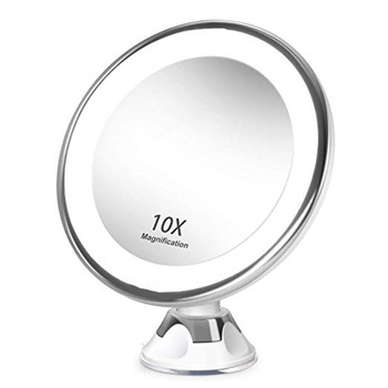 Bathroom makeup mirror 10x magnification LED fill light makeup mirror, 360-degree rotation with powerful suction cup bath mirror cosmetic mirror 1x 3x magnification suction cup adjustable makeup mirror double sided bathroom mirror