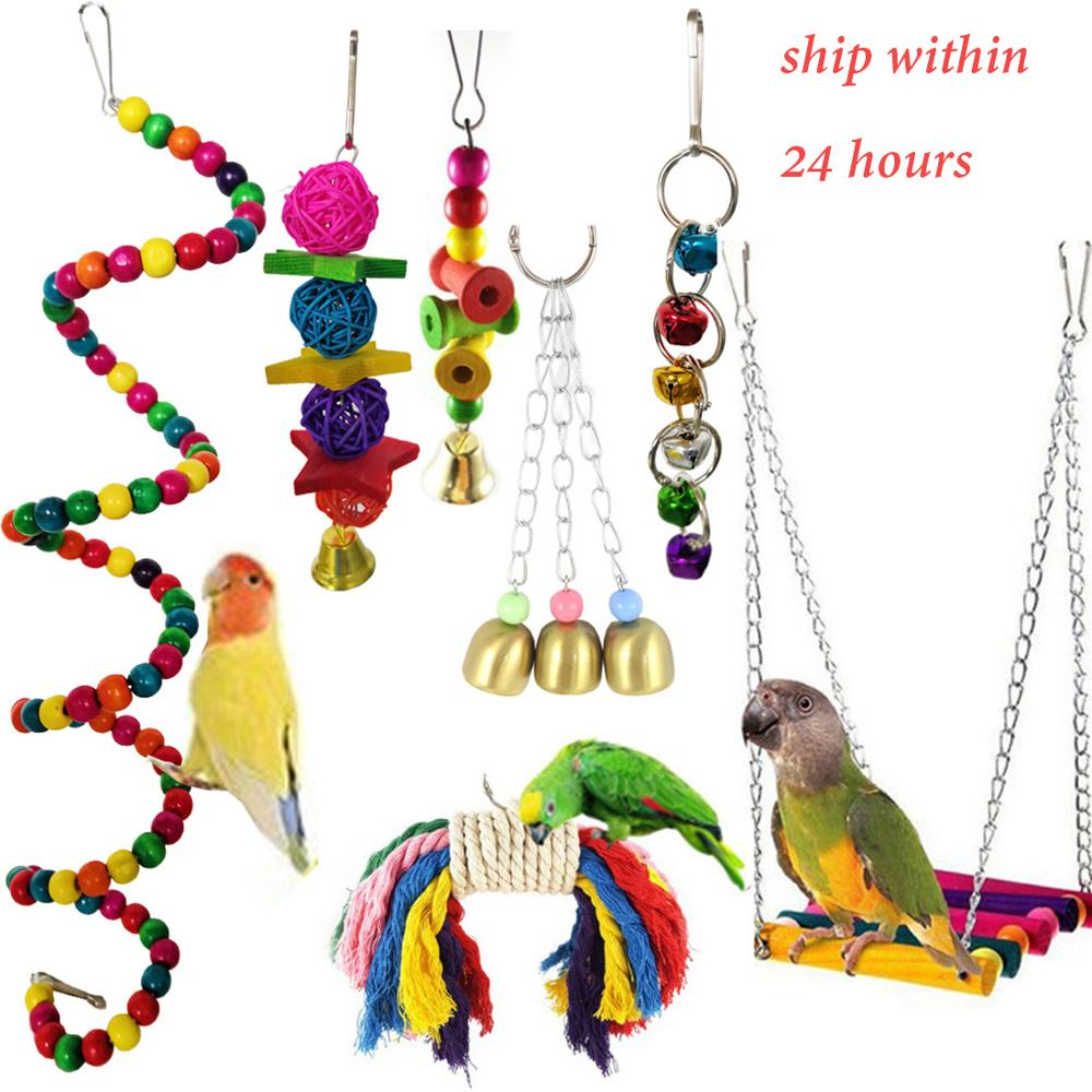 7pcs Bird Swing Blocks Cotton Rope Chew Wooden Bird Toys For Parrots Hanging Bridge String With Bells Swing Colorful Parrot Toys