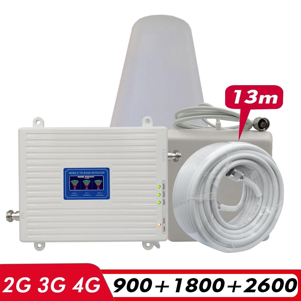 2G 3G 4G Tri Band Repeater GSM 900+DCS LTE 1800(B3)+FDD LTE 2600(B7) Cellphone Signal Booster 900 1800 2600 Signal Amplifier Set