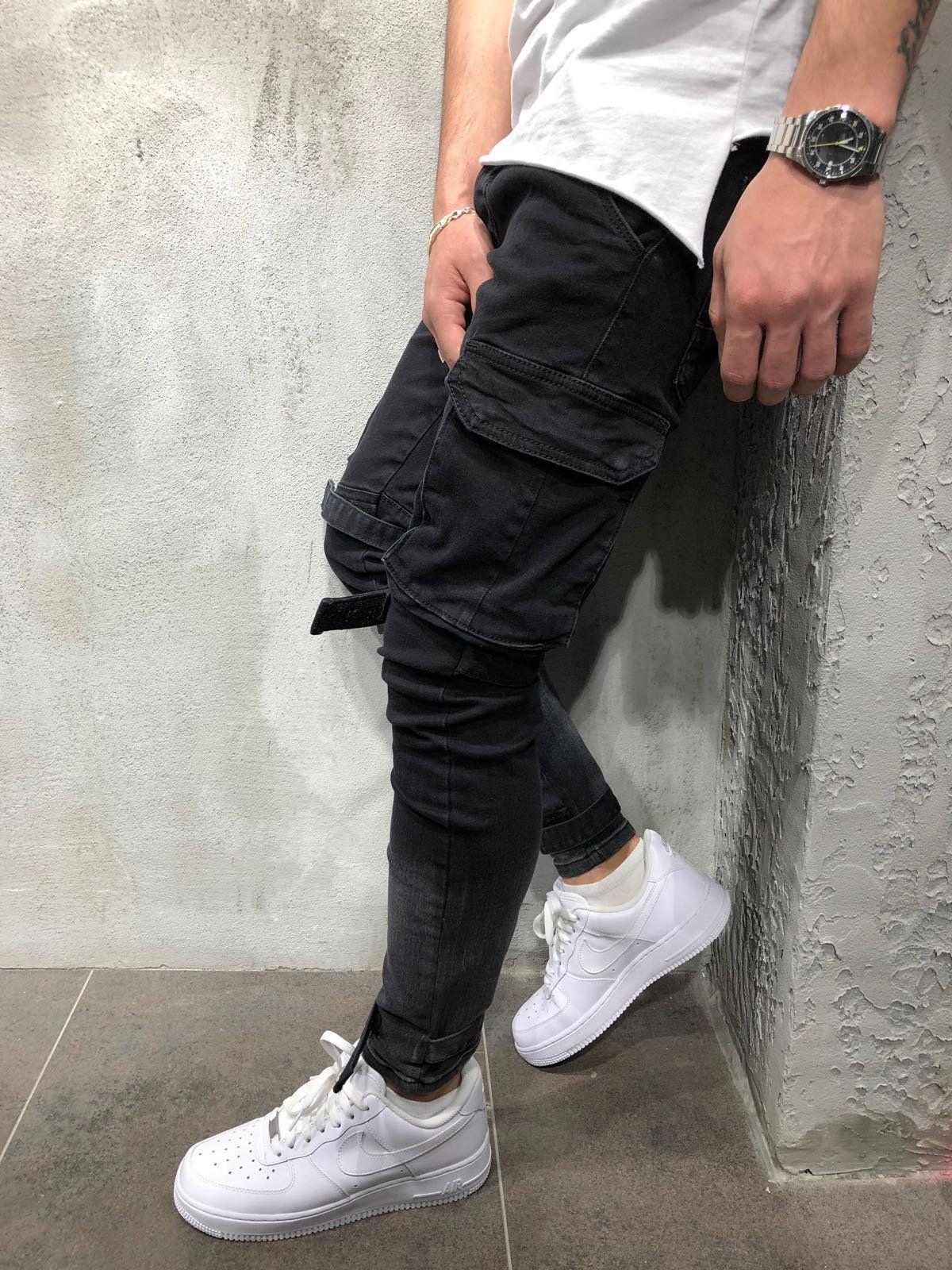 2019 Men Fashion Casual Harem Pant High Street Hip Hop Male Big Pocket Slim Fit Cargo Trousers Biker Pant Jogger Sweatpants