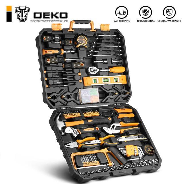 DEKO Hand Tool Set General Household Repair with Plastic Toolbox Case Socket Wrench Screwdriver Knife