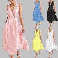 V-neck Dress Long Summer Dress Summer Sexy Low Chest Ladies Dresses Sleeveless Swing Dress Summer OL Commuter Dress недорого