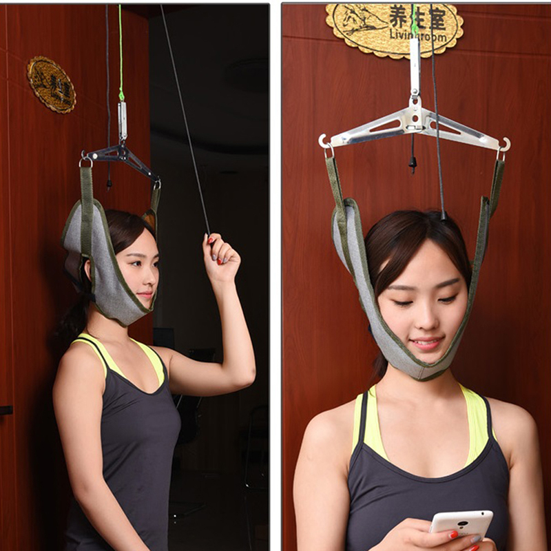 Hot Neck Pain Relief Head Healthy Cervical Traction Stretch Gear Brace Kit Back Stretcher Adjustment Chiropractic Strain Correct