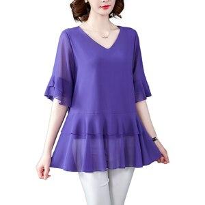 2020 casual chiffon blusa camisa feminina elegante escritório solto senhoras o-neck topos feminino mais tamanho 5xl roupas de alta qualidade