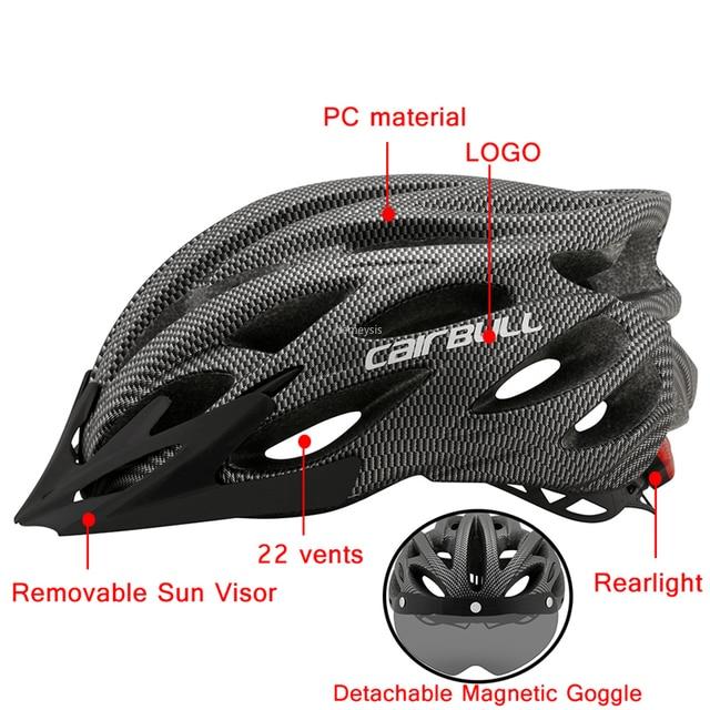 Ultraleve ciclismo capacete de segurança ao ar livre da motocicleta bicicleta taillight capacete lente removível viseira mountain road bicicleta capacete 4